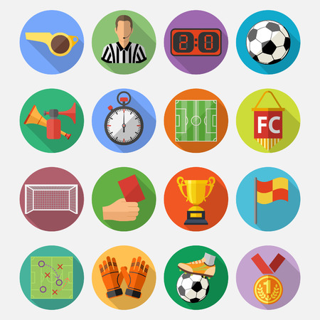 Soccer and Football Flat Icon Set for Flyer, Poster, Web Site with long shadow. Vector Illustration.