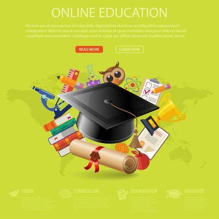 온라인 교육 및 전자 학습 개념 - 전단, 포스터, 웹 사이트의 각모, 책, 현미경으로 설정 플랫 아이콘입니다. 벡터 일러스트 레이 션. 일러스트