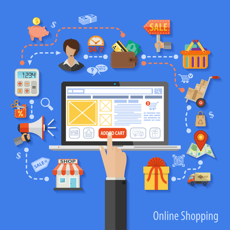 Vector illustration in style flat different icons on theme of retail sales, marketing, online shopping, delivery of goods, such as a megaphone, shop, technical support, piggy bank, cash discounts signs and symbols. Illustration