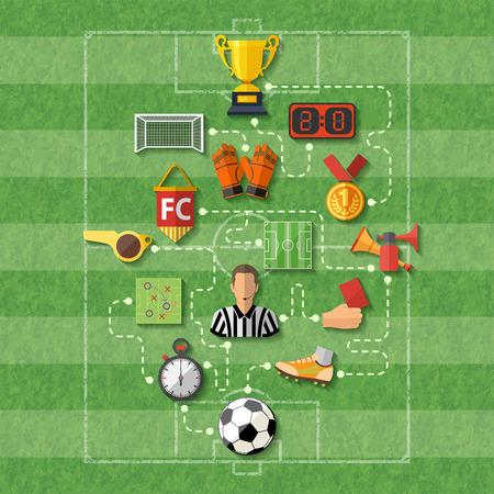 Poster di calcio con icone di stile piatti Archivio Fotografico - 40499941