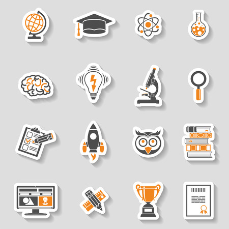 Online Education and E-learning Icon Sticker Set for Flyer, Poster, Web Site. Vector illustration. Vectores