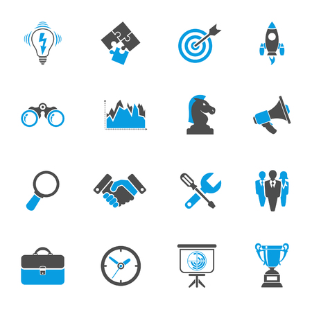 Business Icon Set - Finance, Strategy, Idea, Research, Teamwork, Success. Vector in two color isolated on white background Illustration
