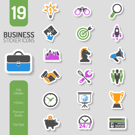Business Icon Sticker Set for Flyer, Poster, Web Site Like Finance, Strategy, Idea, Research, Teamwork, Success. Vector in Four colors.