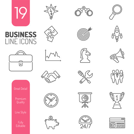 Business Thin Lines Web Icon Set for Flyer, Poster, Web Site Like Finance, Strategy, Idea, Research, Teamwork, Success Ilustração