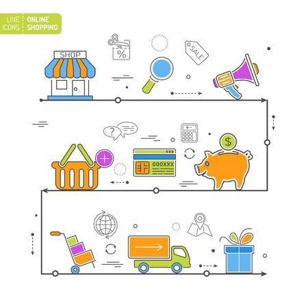 Compras En Línea Thin Líneas De Color Web Icon Set Con Elementos ...