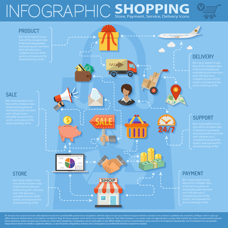 Online Shopping Infographics with flat icons on theme of retail sales marketing, delivery of goods, such as megaphone, shop, technical support, piggy bank, cash signs and symbols