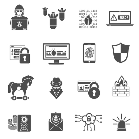 Internet Security Icon Set for Flyer, Poster, Web Site Like Hacker, Virus, Spam and Firewall. Vectores