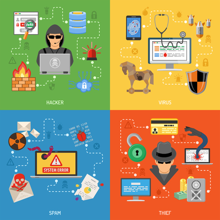 Internet Security Flat Icon Banners Stok Fotoğraf - 43932101