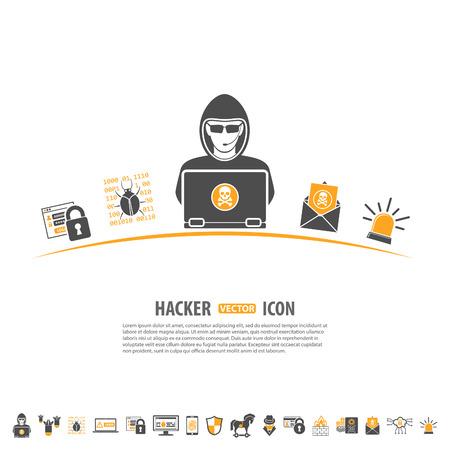 Internet Security Concept met Icon Set voor Flyer, Poster, Web site als Hacker, Virus, Spam en Firewall. Stock Illustratie