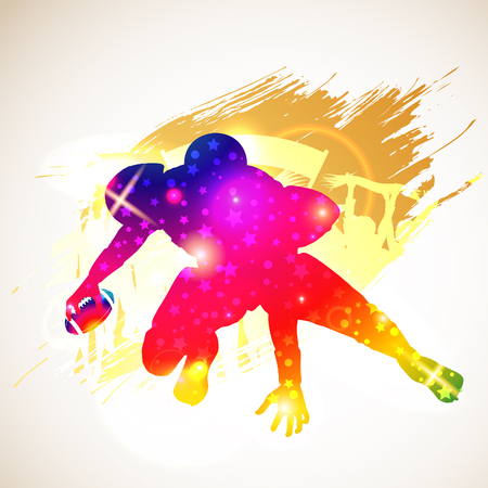 Bright Rainbow Silhouette American Football Player and Fans on grunge background, vector illustration Vettoriali
