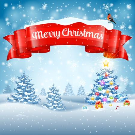 Hintergrund Weihnachten mit Baum, Geschenke, Ribbon, Schneeflocken und Gimpel auf schneebedeckten Hintergrund. Vektor-Vorlage für Cover, Flyer, Broschüre, Grußkarte. Standard-Bild - 45336646