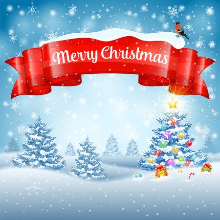 Kerst achtergrond met boom, geschenken, lint, sneeuwvlokken en Goudvink op besneeuwde achtergrond. Vector Template voor dekking, Flyer, Brochure, wenskaart.