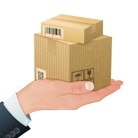 Delivery Service Concept - Hand with Cardboard Boxes in Realistic 3D style. Vector Template can be used for Cover, Brochure, Poster and Printing Advertising.