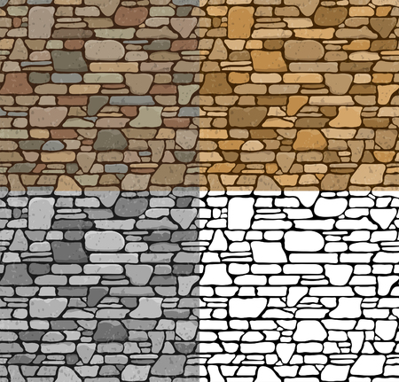 Set 4 Seamless Grunge Stone Brick Wall Texture with various variants of color. Vector Illustration.
