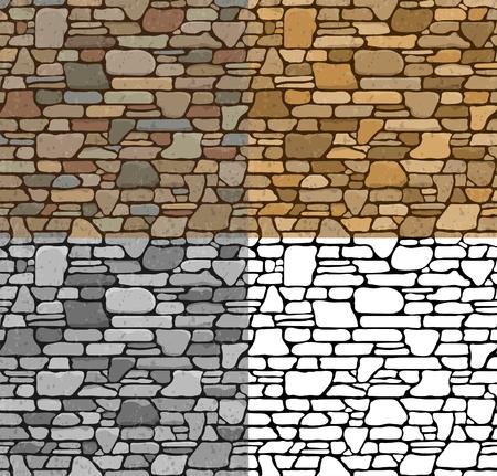 Set 4 Seamless grunge pierre Mur de briques texture avec différentes variantes de couleur. Vector Illustration.