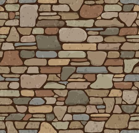 Senza soluzione di continuità grunge Stone Brick Wall Texture. Illustrazione vettoriale.