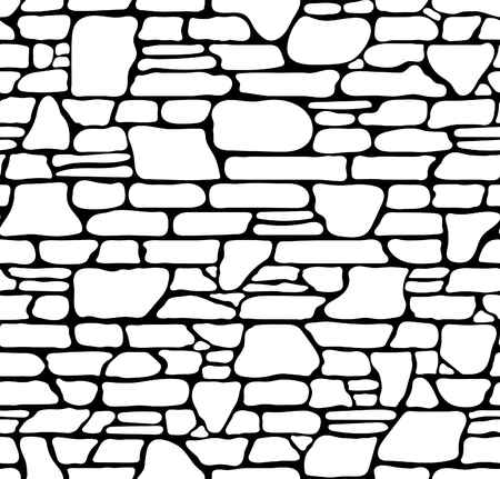Seamless Grunge Stone Brick Wall Texture. Vector Illustration.