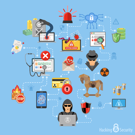 Internet Security Infographics with Flat Icon Set Like Hacker, Virus, Spam and Thief. Vector for Brochure, Poster, Web Site and Printing Advertising.