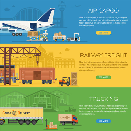 Trucking Industry Banners with Railway Freight and Air Cargo in Flat style icons such as Truck, Plane, Train. Иллюстрация