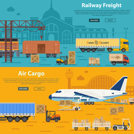 Railway Freight and Air Cargo Banners in Flat style icons such as Truck, Plane, Train.