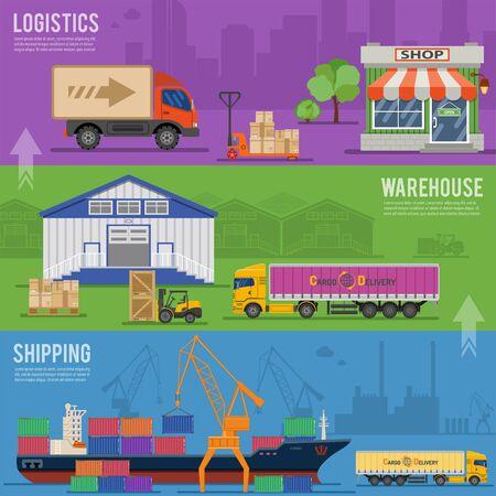 Lieferung und Logistik-Banner mit Frachtschiff, LKW, Lagerhalle, Geschäft, Gabelstapler und Auto in Flat-Stil.