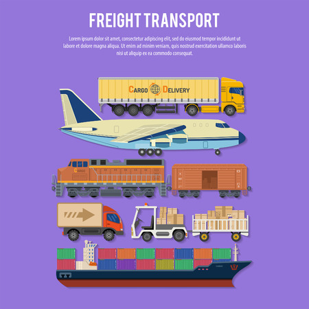 Transport de marchandises et Emballage dans des icônes plates comme Truck, Plane, Train, Ship.