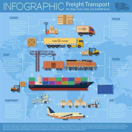 Güterverkehr und Verpackung Infografiken in Flat-Stil-Ikonen wie LKW, Flugzeug, Zug, Schiff. Vektorgrafik