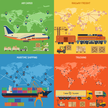 Trucking Industry Banners with Railway Freight, Air Cargo, Maritime Shipping and Trucking in Flat style icons.