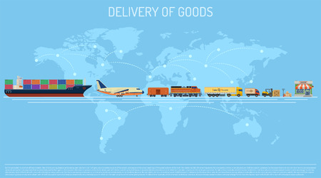 Delivery of Goods Concept with Railway Freight, Air Cargo, Maritime Shipping and Trucking in Flat style icons.