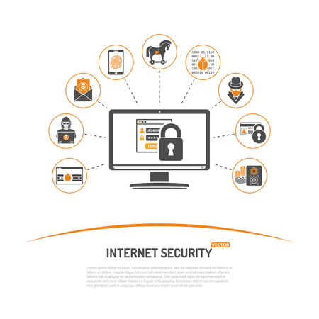 Internet Security Concept with Icon Set