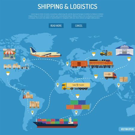 Shipping and Logistics Concept with Railway Freight, Air Cargo, Maritime Shipping and Trucking in Flat style icons.