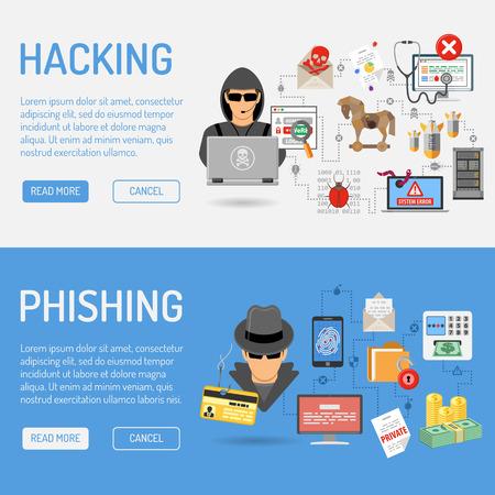 Cyber Crime Banners voor Flyer, Poster, website, Printing Reclame Net als Hacker en Social Engineering. Stock Illustratie