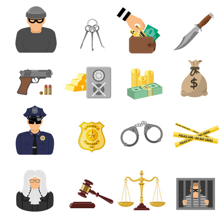 Set Crime and Punishment Flat Icons for Flyer, Poster, Web Site like Thief, Money, Gun, Policeman, judge, handcuffs and prison. Çizim