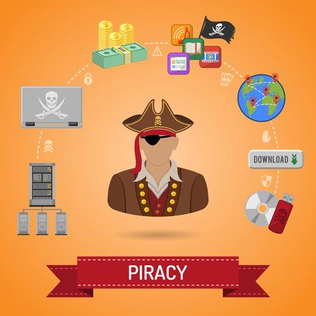 Piraterie Vector Concept avec icônes plates pour Flyer, Affiche, site Web, d'impression Publicité Comme Pirate, Téléchargement, serveur, ordinateur portable et de l'argent.