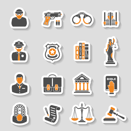 Set Crime and Punishment Icons Sticker Set for Flyer, Poster, Web Site like Thief, Policeman, Lawyer, Judge, Handcuffs, Themis and prison. Vektorové ilustrace