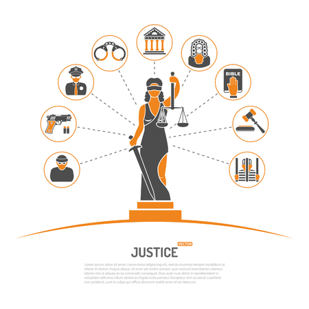 Concept with Lady Justice Statue and Flat Icons for Flyer, Poster, Web Site like Policeman, Thief, Judge, and Prison.