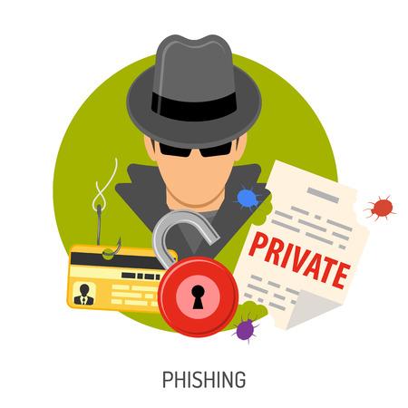 Cyber Crime Concept met vlakke pictogrammen voor Flyer, Poster, website op Thema Phishing.