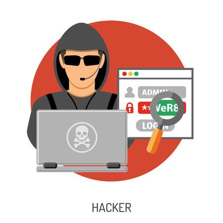 Cibernético Concepto del crimen por un folleto, cartel, sitio Web, impresión de publicidad como pirata informático, virus, error, error, spam e Ingeniería Social. Ilustración de vector