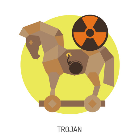 Cyber Crime Concept with Trojan Horse Flat Icon. Vector for Poster, Web Site, Advertising. Vector Illustration