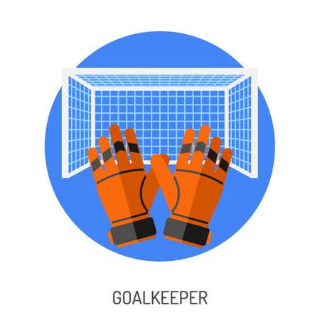 Fútbol y fútbol plano icono por folleto, cartel, del sitio web como meta y Guantes de Portero. Ilustración de vector