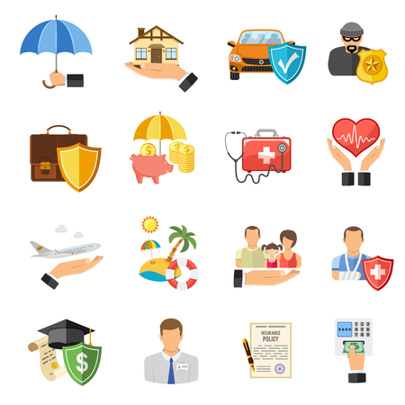 Insurance Flat Icons Set for Poster, Web Site, Advertising like House, Car, Medical and Business . Vectores