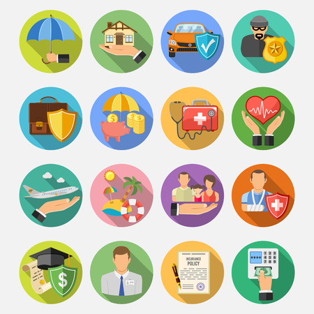 Assicurazione rotonda e piatta Icons Set con una lunga ombra per il poster, sito web, pubblicità come casa, auto, medico e Business.