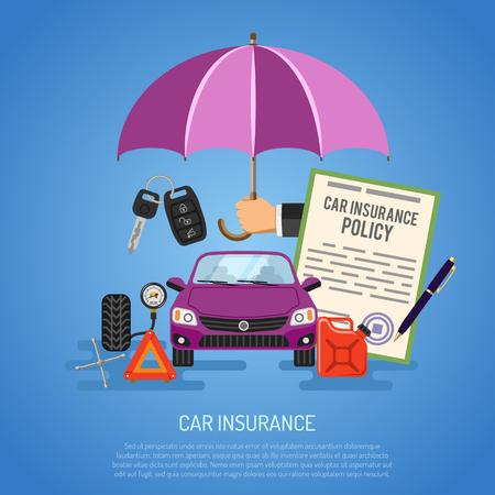 Kfz-Versicherung Konzept für Poster, Web Site, Werbung wie Regenschirm, Politik, Schlüssel, Jerrycan und Manometer.
