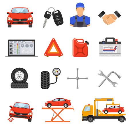 Car Service Płaskie Zestaw ikon dla plakat, strona internetowa, reklama jak Laptopy, Tow, akumulator, Jack i mechanika. Ilustracje wektorowe