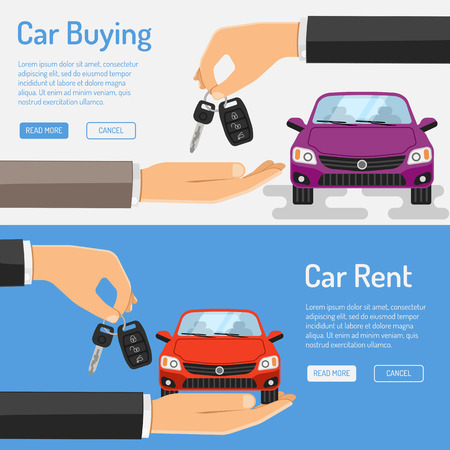 Rent amd Buying Car Banner for Poster, Web Site, Advertising like Hand, Car and Key. Ilustracja