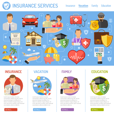 Insurance Services Concept in Flat style icons such as House, Car, Medical, Family and Business. Vector for Poster, Web Site and Advertising.  イラスト・ベクター素材
