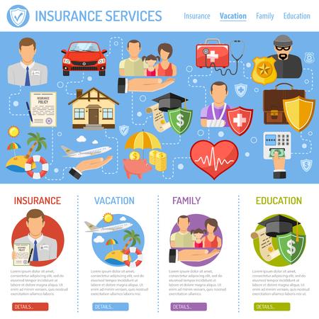 Insurance Services-Konzept in der Wohnung Stil-Ikonen wie Haus, Auto, Medizin, Familie und Geschäft. Vektor für Plakat, Website und Werbung.