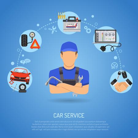 Auto-Service-Konzept für Poster, Web Site, Werbung mit Flat Icons wie Laptop, Zündkerze, Batterie, Jack und Mechaniker. Vektorgrafik