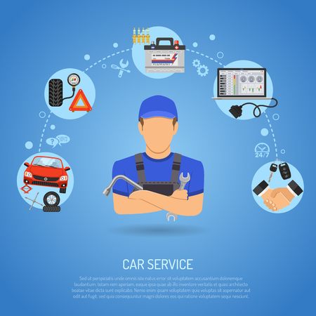 Car Service Concept for Poster, Web Site, Advertising with  Flat Icons like Laptop, Spark Plug, Battery, Jack and Mechanic.