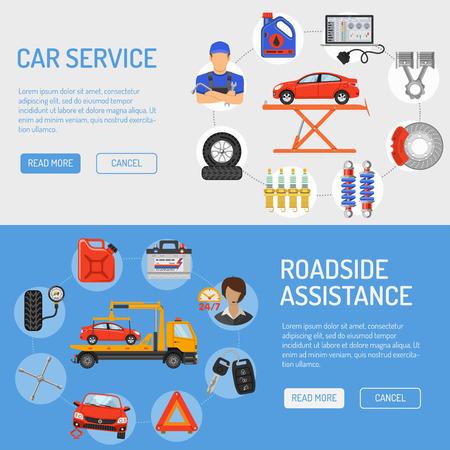 Car Service en Roadside Assistance Banners met Flat Pictogrammen voor Poster, website, reclame, zoals Laptop, Tow, Batterij, Jack, Monteur.